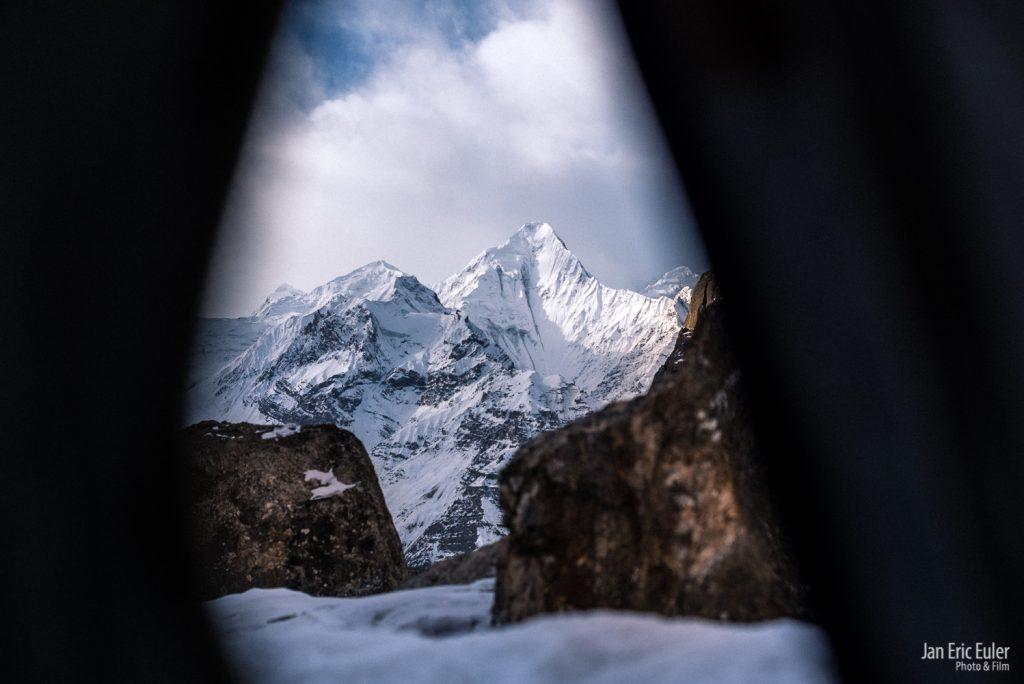 Blick vom Skikurs auf das Shimshal Whitehorn